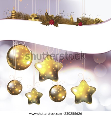Shiny ornaments and lights for holy christmas - stock vector