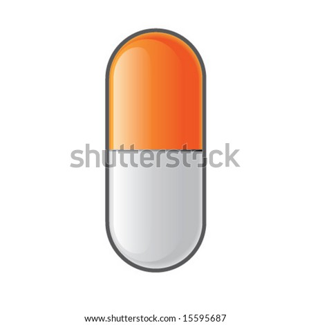 Shiny pill capsule.  Vector illustration. - stock vector