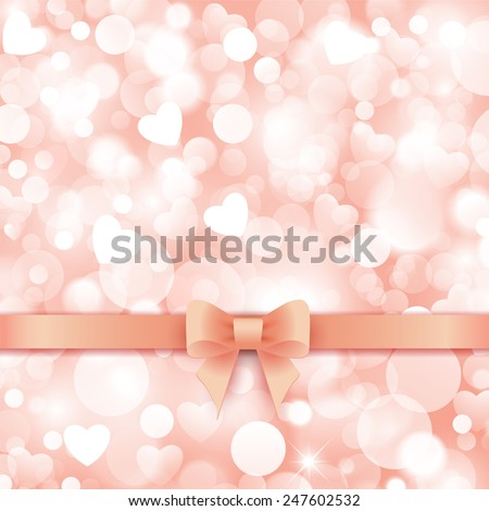 Shiny pink background with gift pink bow and ribbon. - stock vector