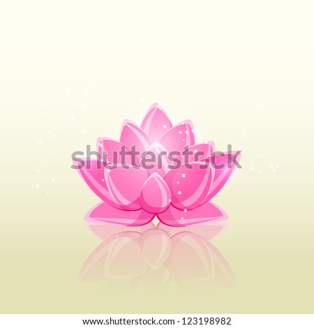 Shiny Pink Flower with Reflection in Water. Lotus Vector Illustration. - stock vector