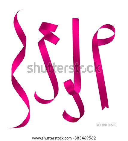 Shiny pink ribbon on white background. Vector illustration. - stock vector