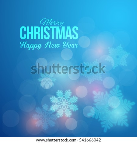 Shiny Postcard with Happy New Year and Merry Christmas Celebration, Web Banner Template. Greeting Card Design, Vector Winter Snowflakes Elements in Brilliant Blue Colors Background. Flyer, Poster