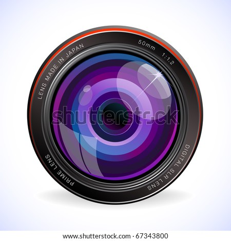 shiny purple lens on soft background - stock vector