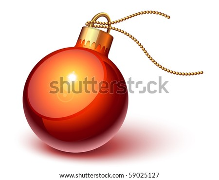 Shiny red christmas ornament - stock vector