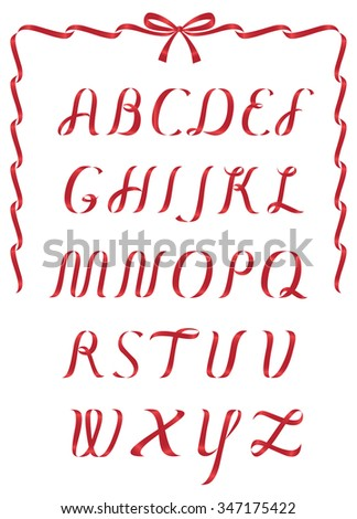 Shiny Red Christmas ribbon alphabet