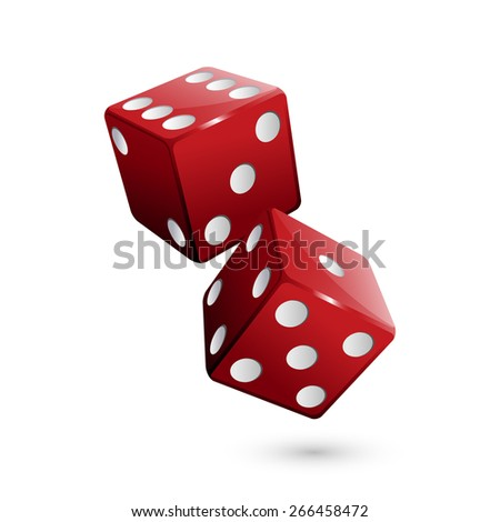 Shiny red dices on the white background - Vector illustration - stock vector