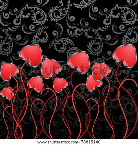 shiny red hearts in the shape of flowers on a black background - stock vector