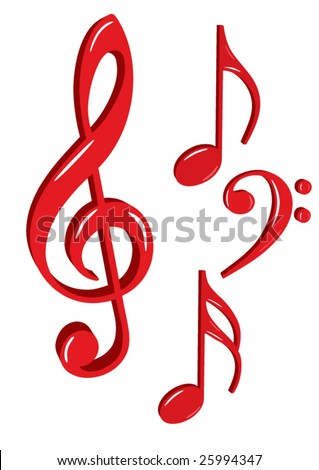 Shiny red music icons vector - stock vector