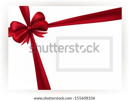 Shiny red ribbon on white background, vector - stock vector