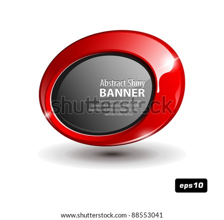 Shiny Red Round Banner - stock vector