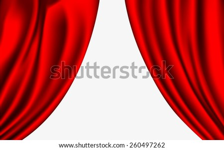 shiny red silk curtains on a white background - stock vector