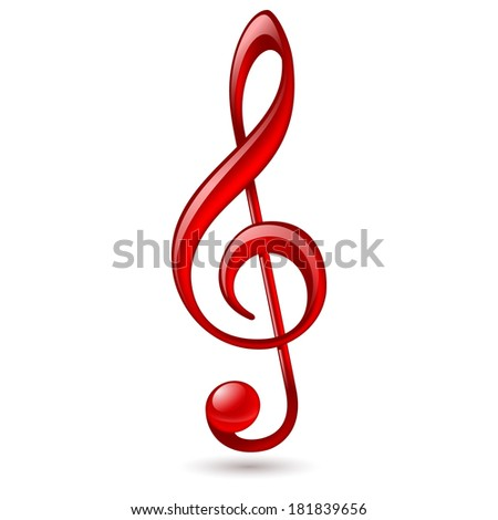 Shiny red treble clef on white background - stock vector