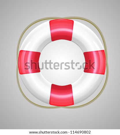 Shiny red vector life buoy