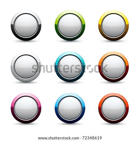 shiny round icons - stock vector