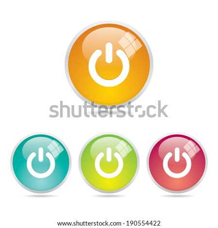 Shiny Round Power Button Icons - stock vector