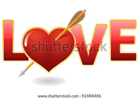Shiny sign love and heart with arrow - stock vector