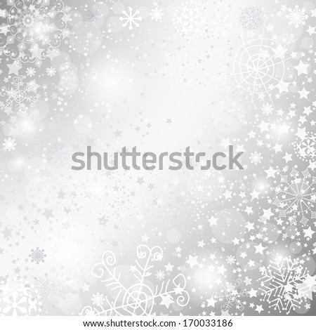Shiny silver Christmas background for design (vector eps 10) - stock vector