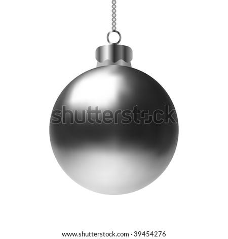 Shiny Silver Christmas Bauble (Vector) - stock vector
