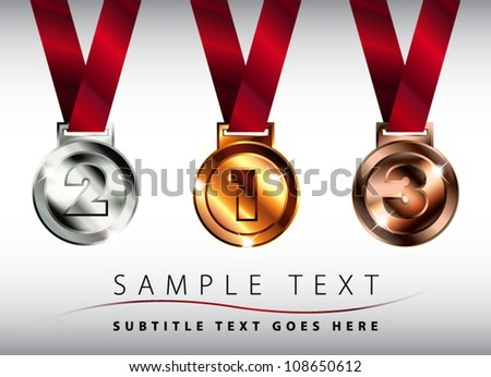 Shiny silver, gold and bronze medals with red ribbons - stock vector