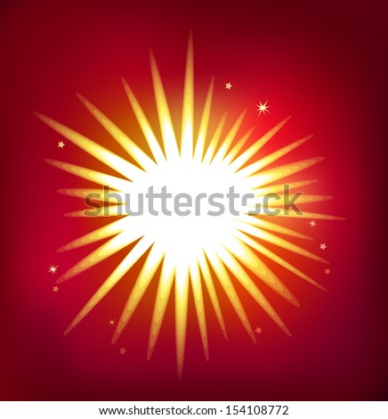 Shiny single star isolated on red background. Created in Adobe Illustrator. Image contains blends, transparencies and background gradient mesh. EPS 10.  - stock vector