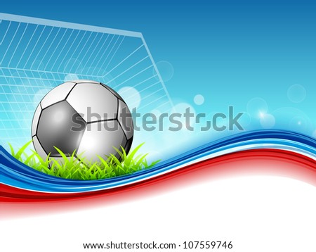 Shiny soccer ball or football on shiny colorful wave background. EPS 10. - stock vector