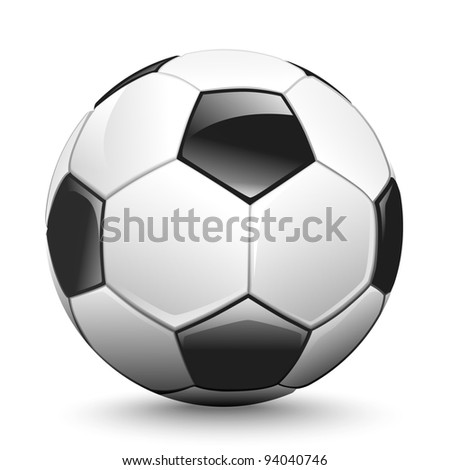 Shiny soccer ball waiting to be kicked, vector - stock vector