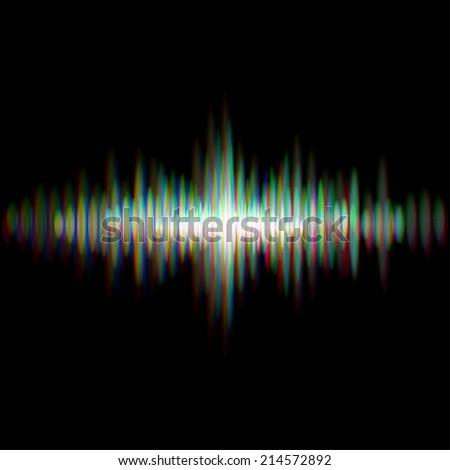 Shiny sound waveform with vibrating light aberrations - stock vector