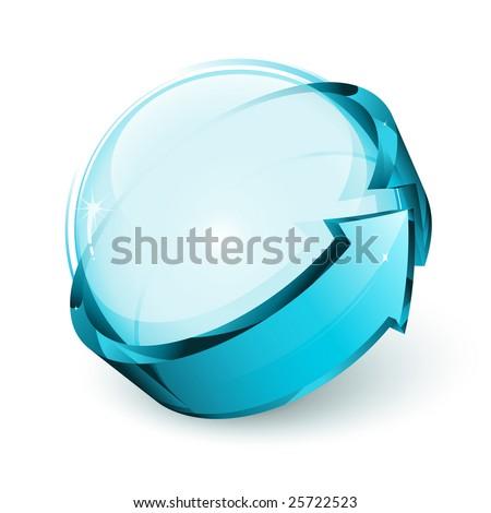 shiny sphere and arrow - stock vector