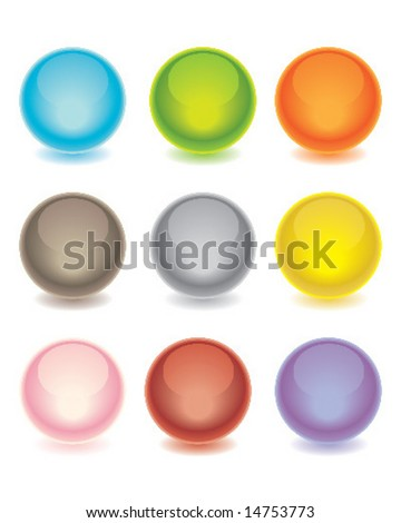Shiny spheres in many colors.  Web interface buttons. - stock vector