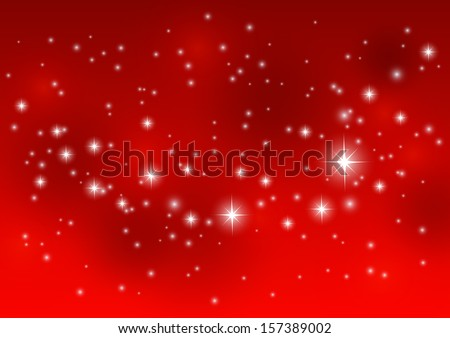 Shiny starry lights on red background - stock vector