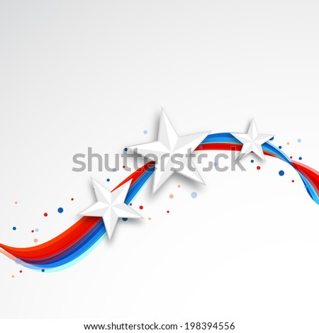 Shiny stars on national flag waves background for Fourth of July, American Independence Day celebrations.  - stock vector