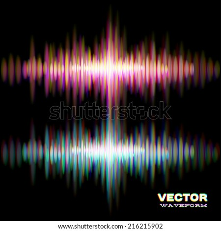 Shiny stereo sound waveform with vibrating light aberrations - stock vector
