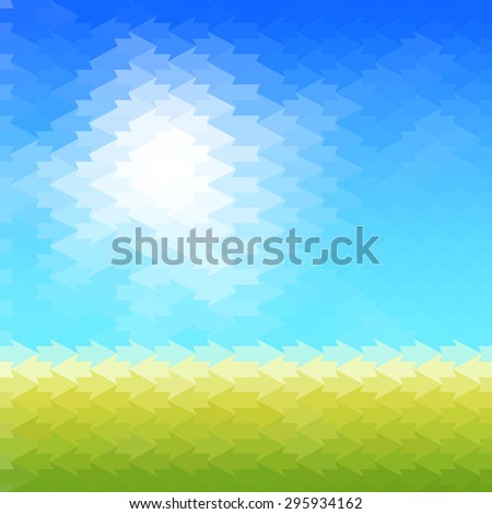 Shiny sun background made of arrow pattern tiles - stock vector