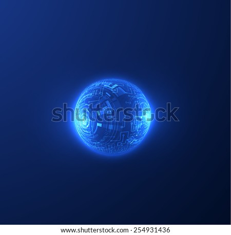Shiny techno sphere background. Technology background. Vector eps10. - stock vector