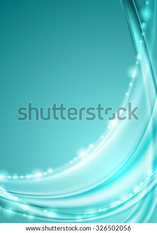 Shiny turquoise abstract waves background. Vector design - stock vector