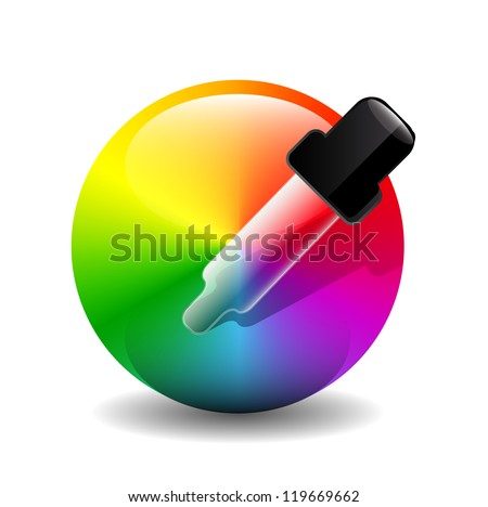 Shiny vector color picker icons (eye-dropper over color palette) - stock vector