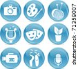 shiny vector icons as symbols of arts - stock vector