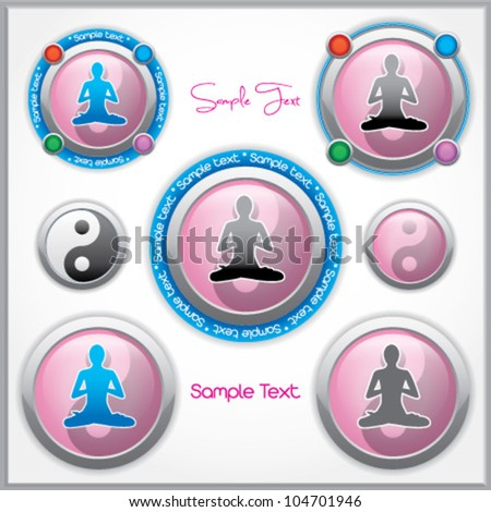 Shiny vector mark collection with a woman in lotus position and the Yin and Yang symbol, and with place for Your custom text - stock vector