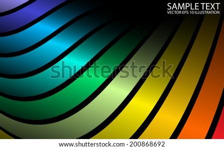 Shiny vector rainbow arcs curved background illustration - Vector reflective background rainbow template - stock vector