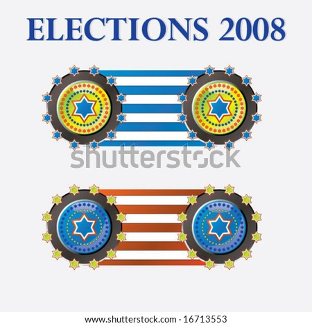 shiny vector US-Elections stickers - stock vector