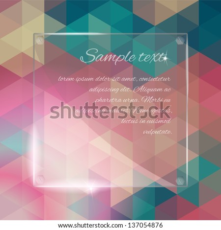 Shiny vintage background. Rectangular retro glass plate. Glassy banner with place for your text. Vector EPS10. - stock vector