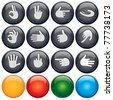 Shiny Web Buttons with Gestures and Hand Signs - stock vector