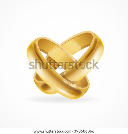 Shiny Wedding Gold Rings. Symbol of Love and Wedding. Vector illustration - stock vector