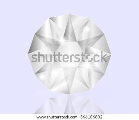 Shiny white diamond - stock vector
