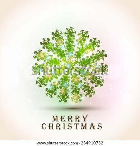 Shiny X-mas Ball decorated by beautiful snowflakes on colorful background for Merry Christmas celebrations.  - stock vector
