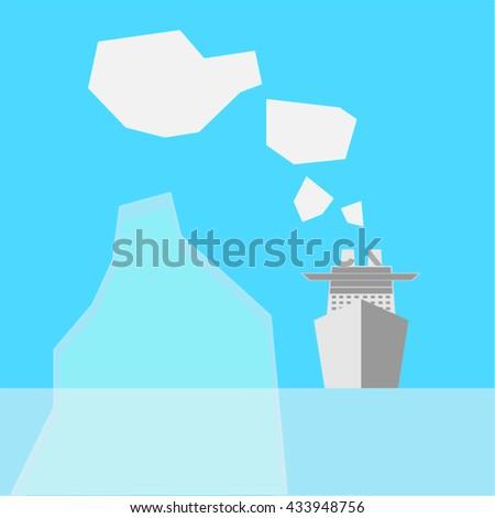 Ship and iceberg - stock vector