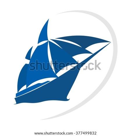 ship and sail logo vector. - stock vector