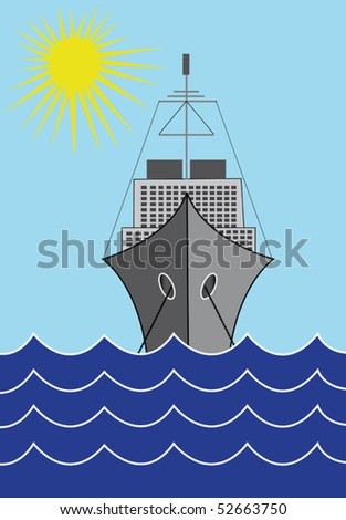 Ship and sea vector illustration - stock vector