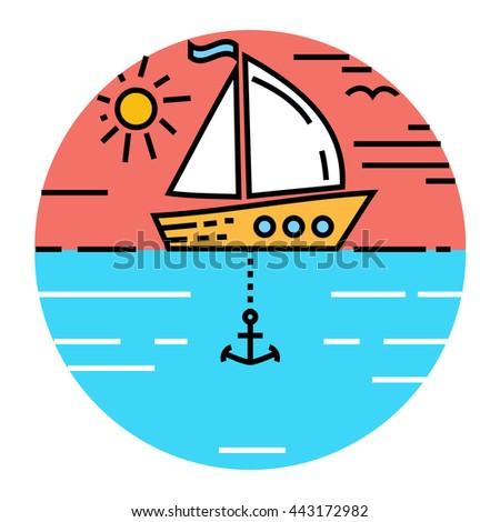 Ship and sun. Travel concept. - stock vector