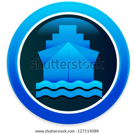 Ship - Boat - Cruiser Vector Illustration, Vector Icon